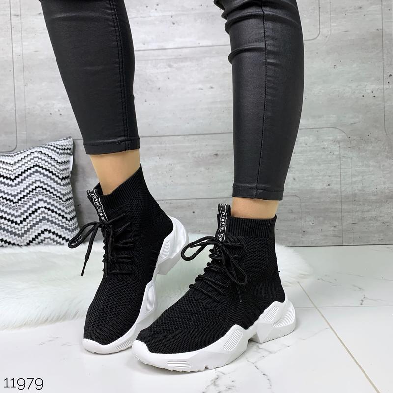 Чёрные кроссовки носки,чёрные высокие текстильные кроссовки с ... - Фото 3