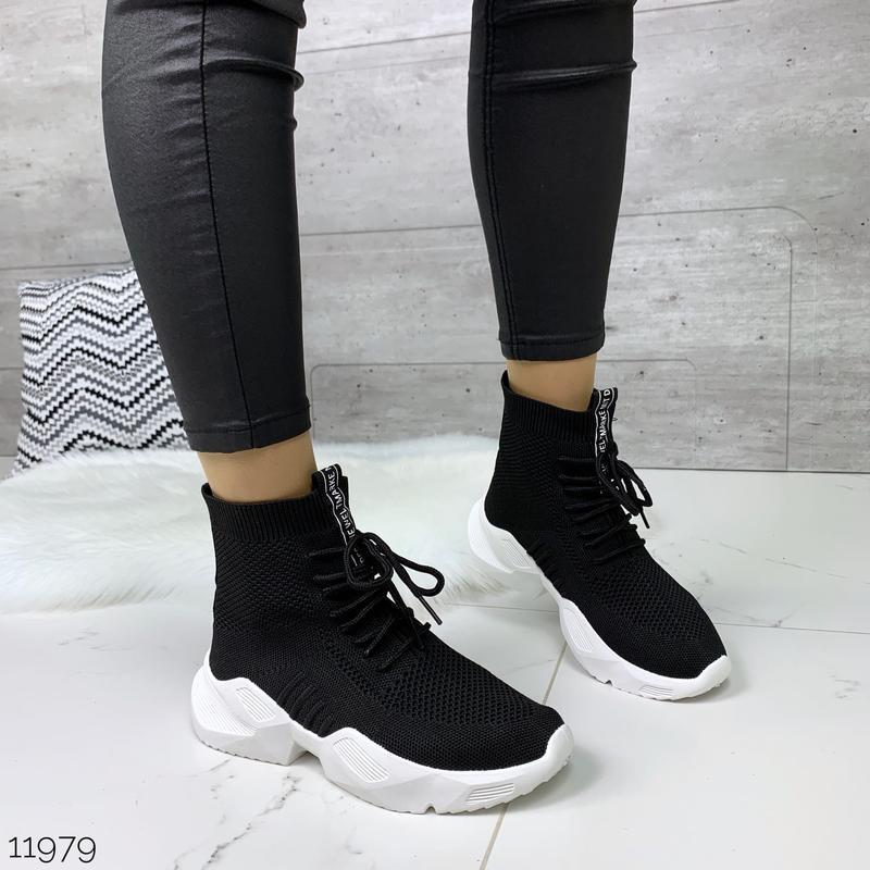 Чёрные кроссовки носки,чёрные высокие текстильные кроссовки с ... - Фото 4