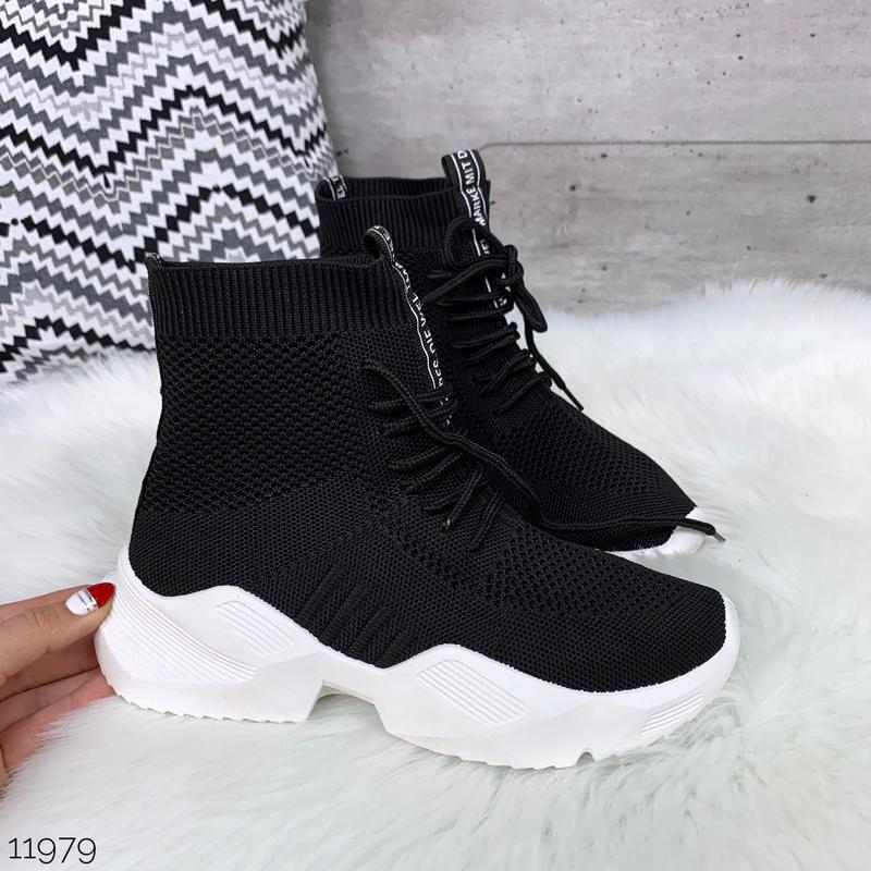 Чёрные кроссовки носки,чёрные высокие текстильные кроссовки с ... - Фото 5