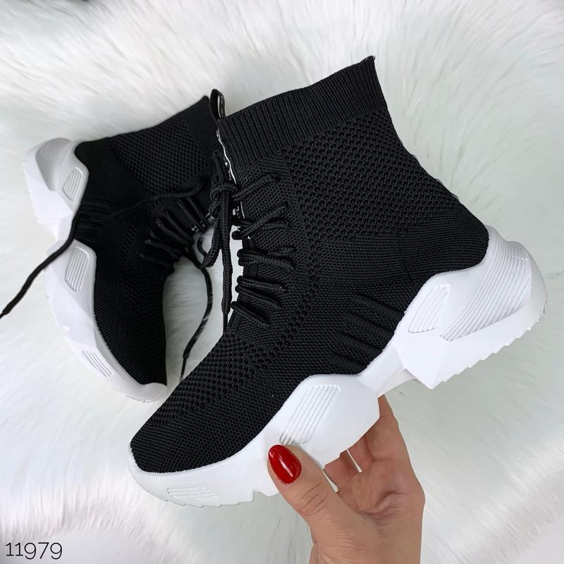 Чёрные кроссовки носки,чёрные высокие текстильные кроссовки с ... - Фото 8