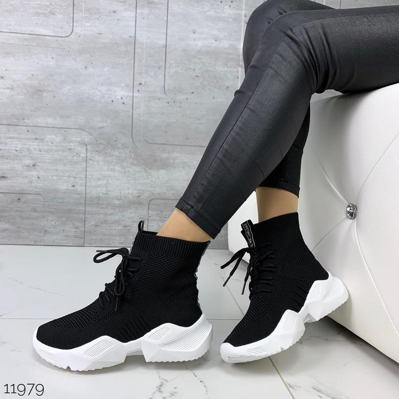 Чёрные кроссовки носки,чёрные высокие текстильные кроссовки с ... - Фото 9