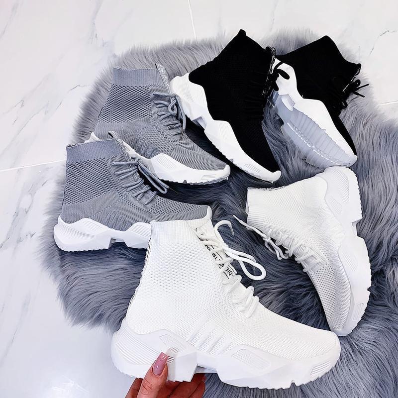 Чёрные кроссовки носки,чёрные высокие текстильные кроссовки с ... - Фото 10
