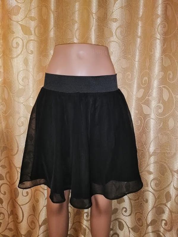 🔥🔥🔥стильная короткая легкая черная женская шифоновая юбка h&m🔥🔥🔥 - Фото 3
