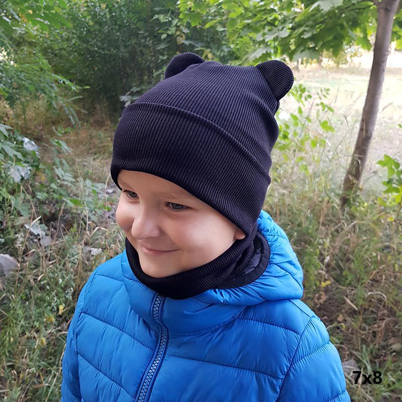 Цвета*демисезонная шапка с ушками рубчик для мальчика, черная,...