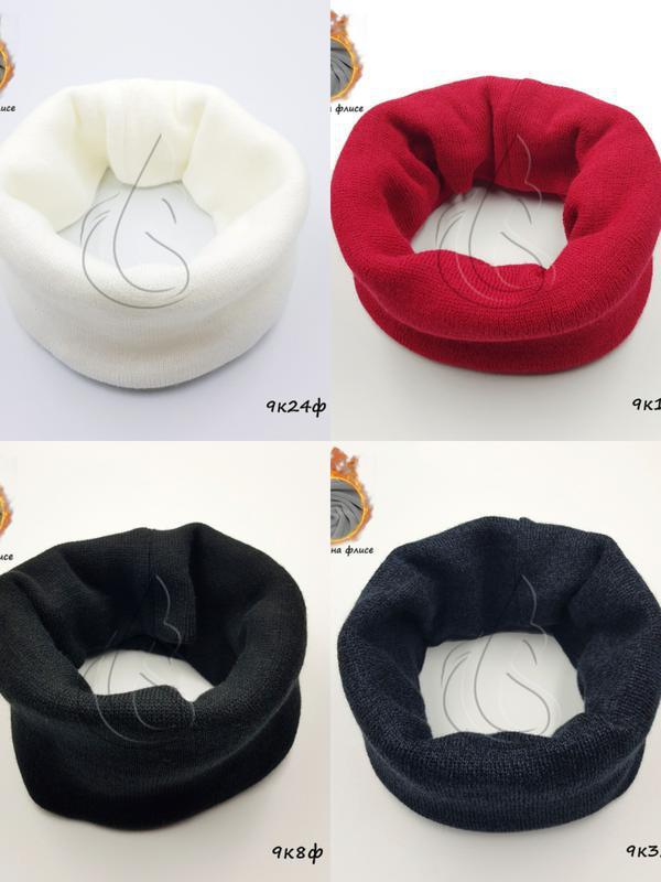 Теплый зимний хомут для девочки,снуд,шарф, флис, белый,молочны...