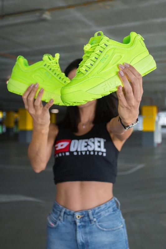 F!la disruptor 2 yellow neon шикарные женские кроссовки /весна... - Фото 3
