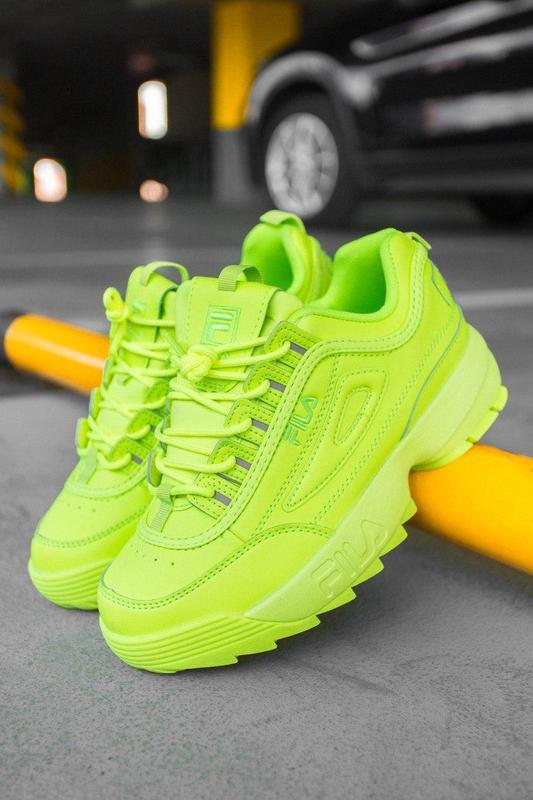 F!la disruptor 2 yellow neon шикарные женские кроссовки /весна... - Фото 4