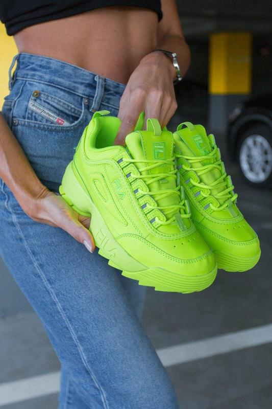 F!la disruptor 2 yellow neon шикарные женские кроссовки /весна... - Фото 5