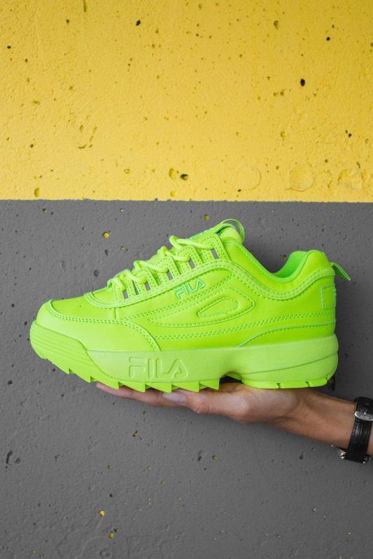 F!la disruptor 2 yellow neon шикарные женские кроссовки /весна... - Фото 6