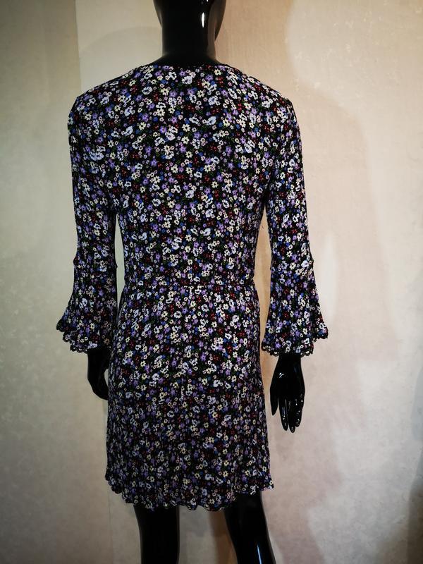Нежное платье цветочный принт вискоза h&m - Фото 2