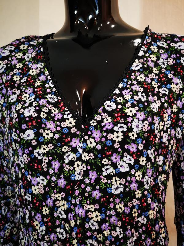 Нежное платье цветочный принт вискоза h&m - Фото 3