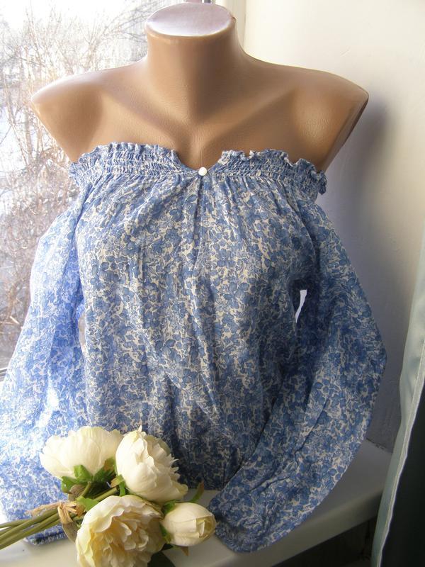 Ralph lauren блуза открытые плечи 100% хлопок 8-размер
