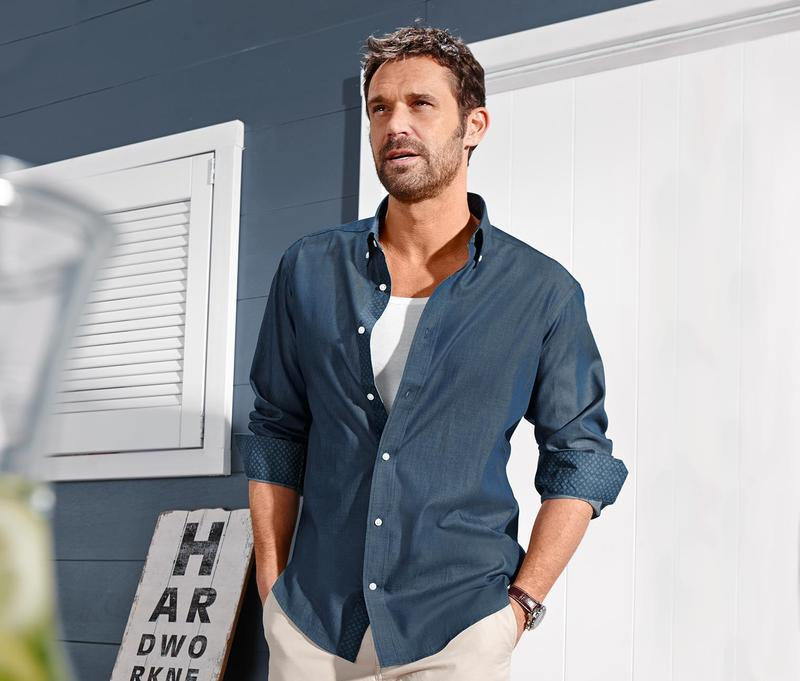 Рубашка премиум качество из ткани шамбре tcm tchibo германия в...