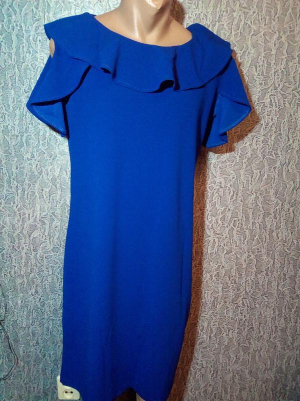 Стильное,синее платье, футляр. - Фото 2