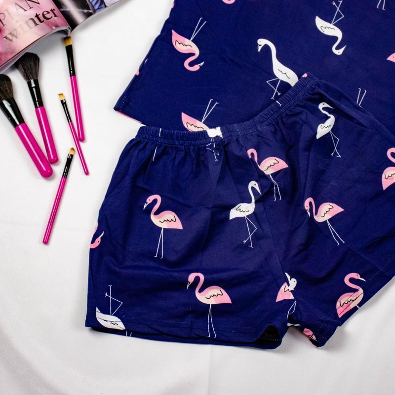 Бавовняна піжама з фламінго - Фото 3