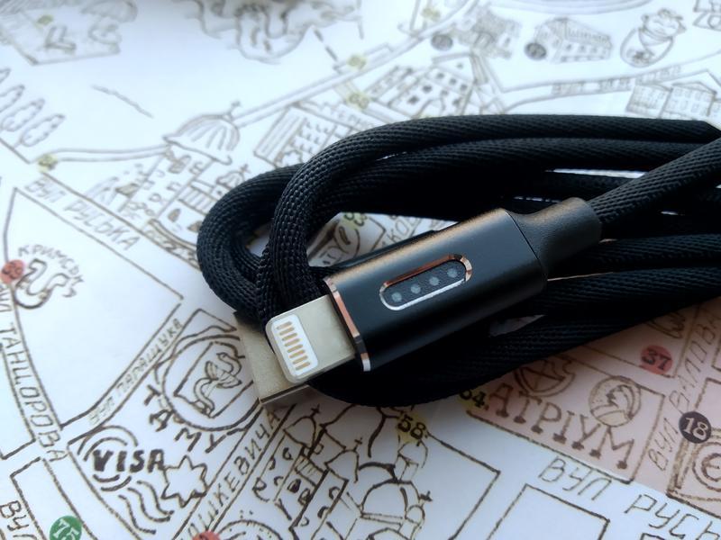 Кабель Apple iphone lightning USB 1м Orico Led Indic. black