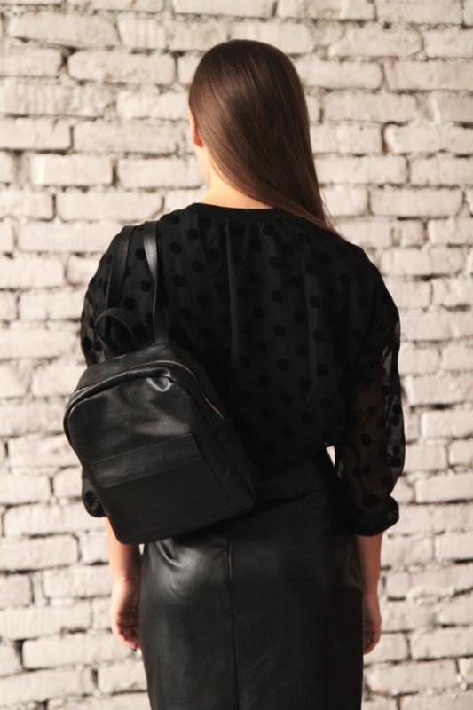 Рюкзак из натуральной кожи (чёрный) - Фото 2