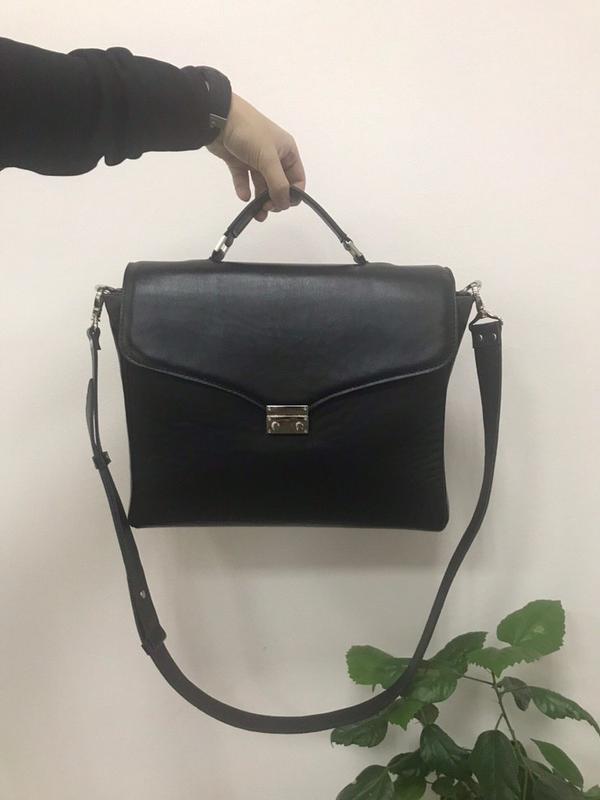 Стильный кожаный портфель-сумка (унисекс) - Фото 2