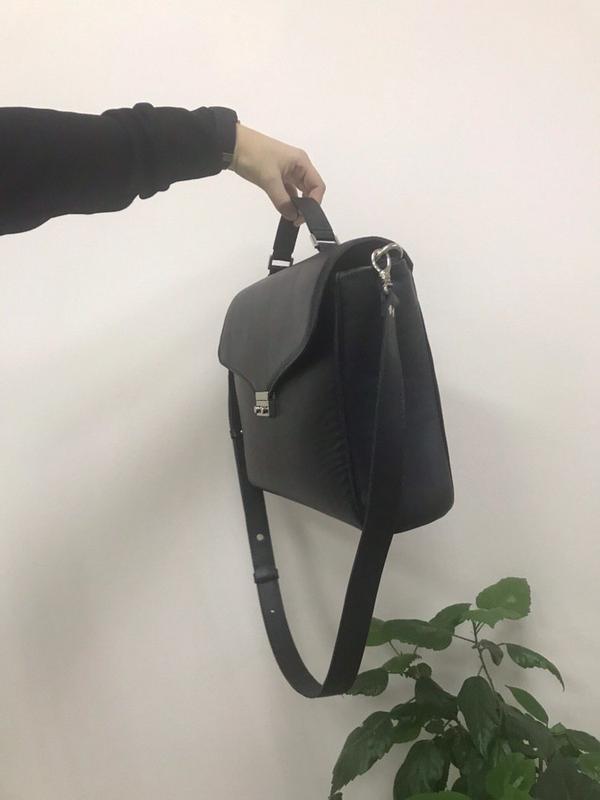 Стильный кожаный портфель-сумка (унисекс) - Фото 4