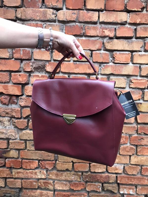 Сумка-портфель из кожи. цвет марсала - Фото 2