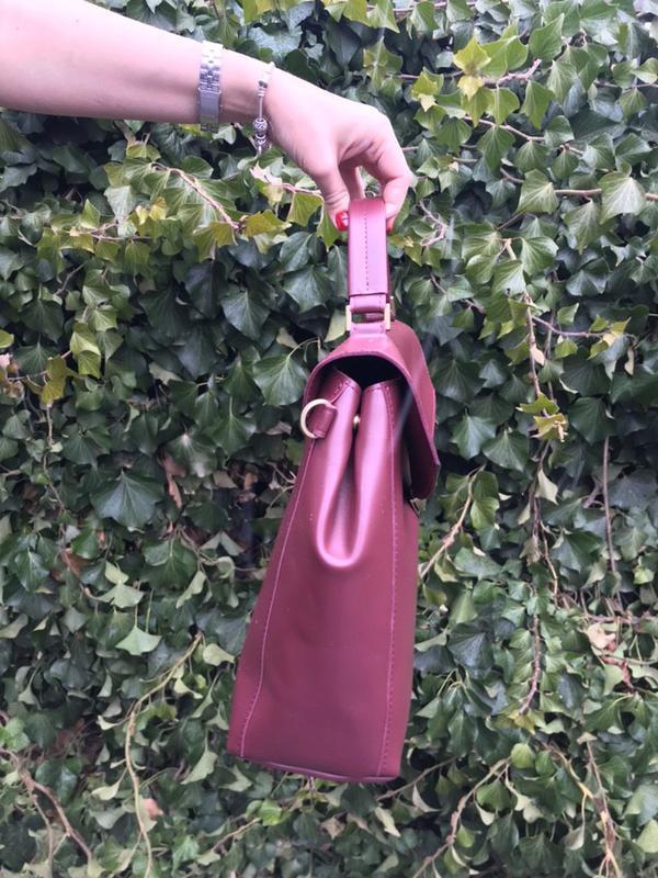 Сумка-портфель из кожи. цвет марсала - Фото 3