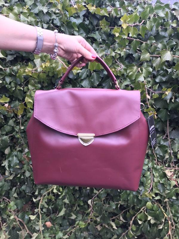 Сумка-портфель из кожи. цвет марсала - Фото 5