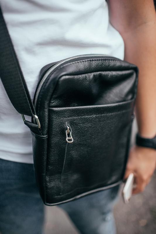 Мужская кожаная сумка через плечо - Фото 3