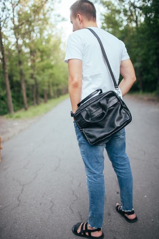 Мужская сумка для ноутбука, мессенджер из кожи, на каждый день - Фото 2