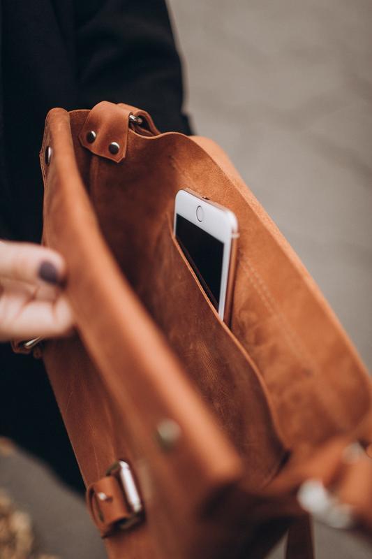 Стильная коричневая кожаная сумка, сумка из кожи крейзи хорс, ... - Фото 2