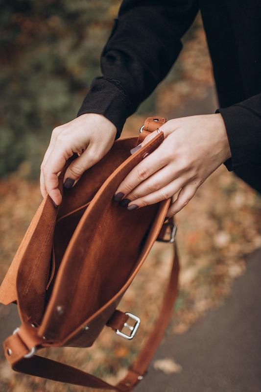 Стильная коричневая кожаная сумка, сумка из кожи крейзи хорс, ... - Фото 3
