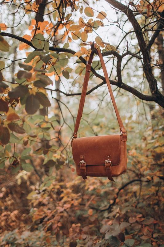 Стильная коричневая кожаная сумка, сумка из кожи крейзи хорс, ... - Фото 4