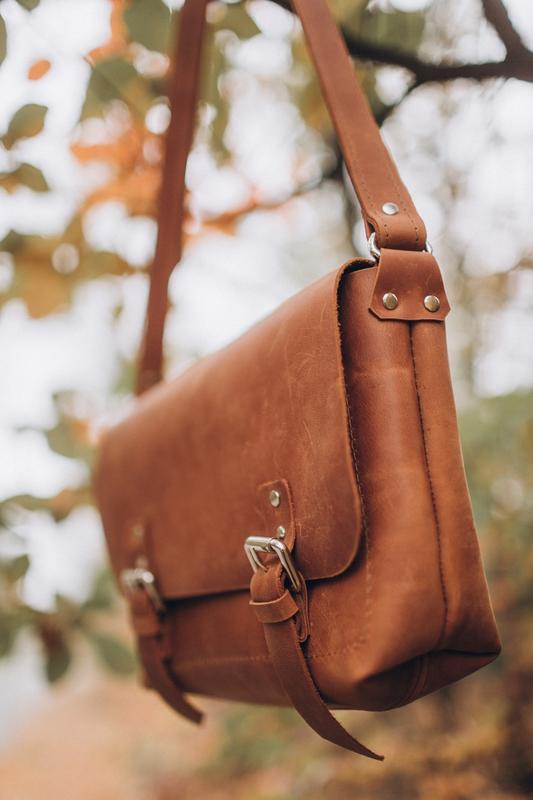 Стильная коричневая кожаная сумка, сумка из кожи крейзи хорс, ... - Фото 5