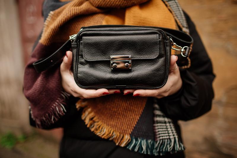 Стильная сумка из натуральной кожи, кожаная кроссбоди, черная ...