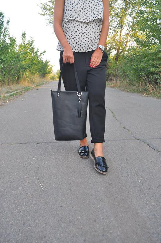 Кожаная сумка-шоппер на молнии - Фото 2