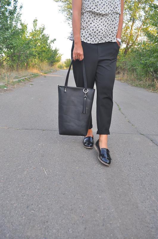 Кожаная сумка-шоппер на молнии - Фото 3