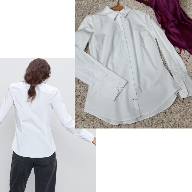 Базовая белая приталенные рубашка,zara,  p. s