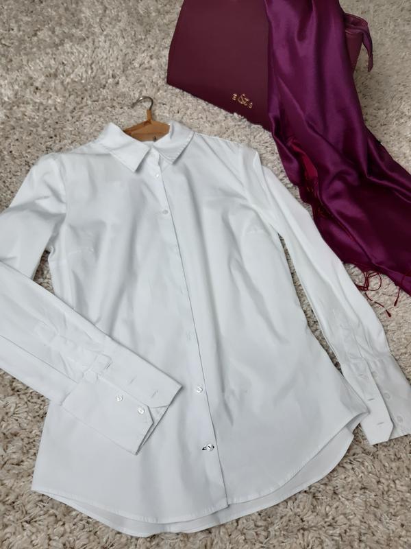 Базовая белая приталенные рубашка,zara,  p. s - Фото 2