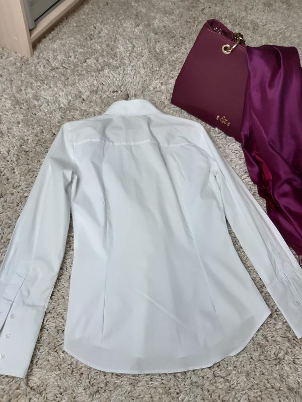 Базовая белая приталенные рубашка,zara,  p. s - Фото 4