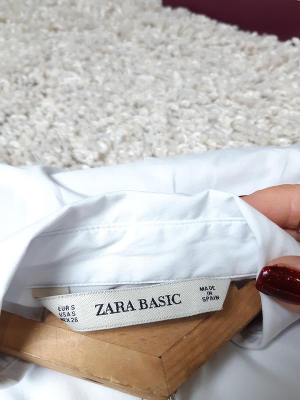 Базовая белая приталенные рубашка,zara,  p. s - Фото 5