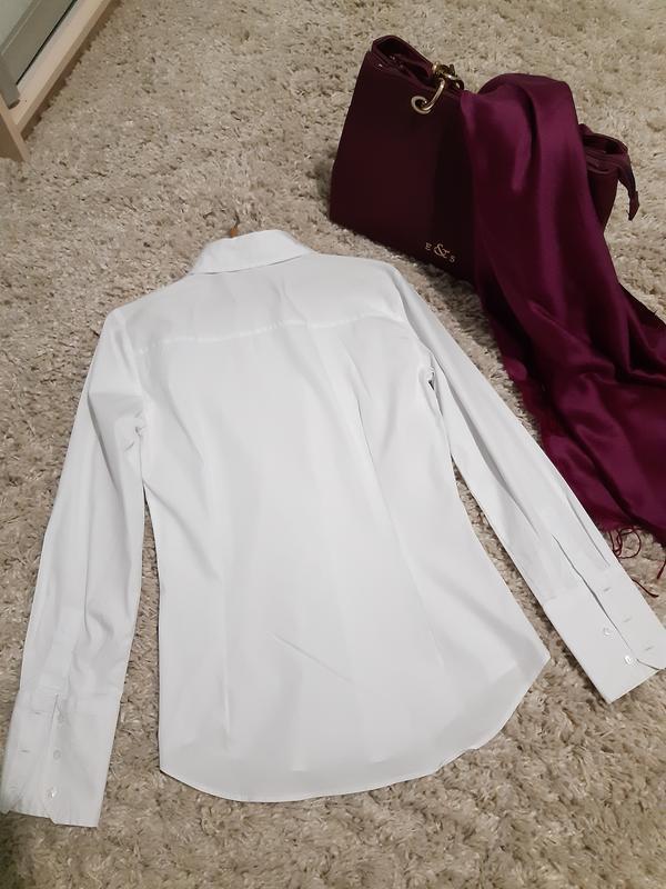 Базовая белая приталенные рубашка,zara,  p. s - Фото 6