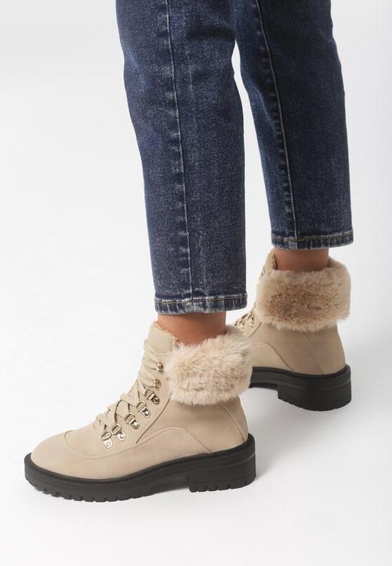 Новые шикарные женские зимние бежевые ботинки - Фото 2