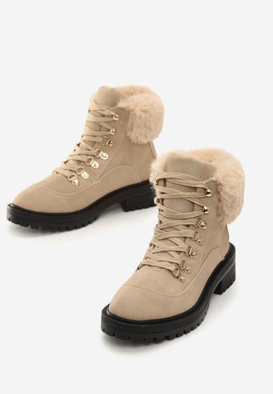Новые шикарные женские зимние бежевые ботинки - Фото 3