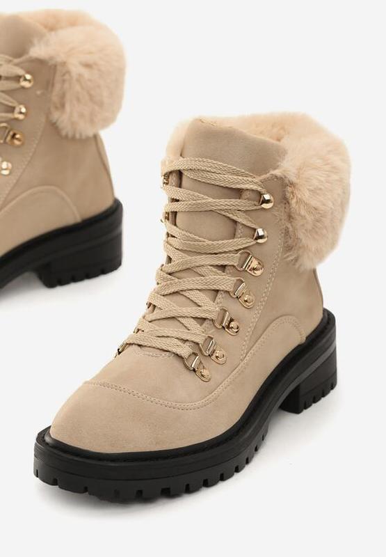 Новые шикарные женские зимние бежевые ботинки - Фото 4