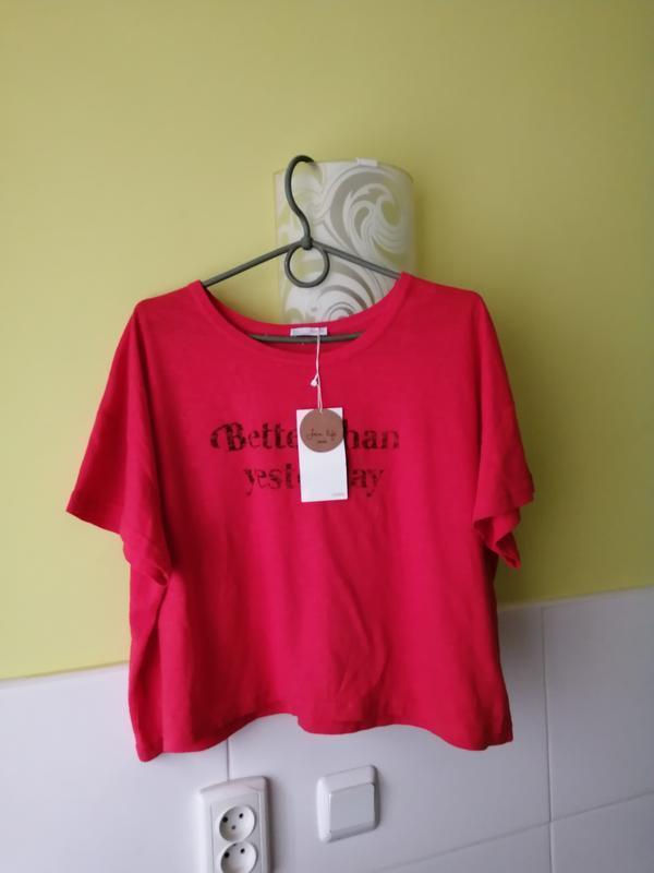 Новая оверсайз футболка с примесью льна zara - Фото 2