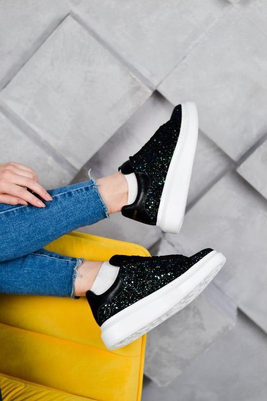 Alexander mcqueen потрясающие женские кроссовки кожа /весна/ле... - Фото 9