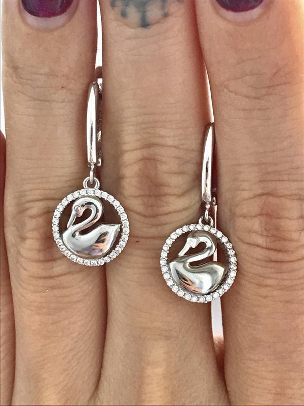 Серьги серебро 925 пробы лебеди 46853