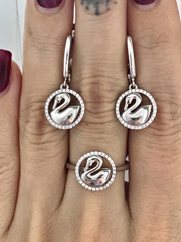 Серьги серебро 925 пробы лебеди 46853 - Фото 4