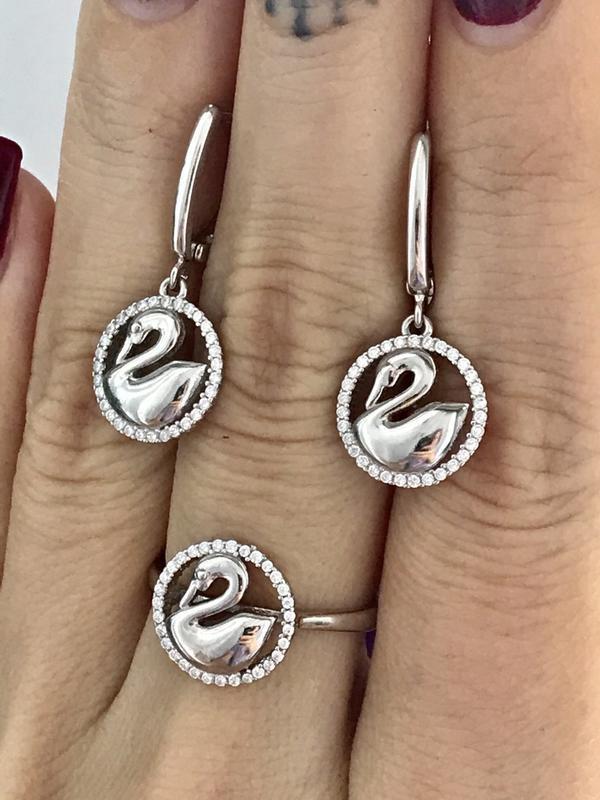 Серьги серебро 925 пробы лебеди 46853 - Фото 5