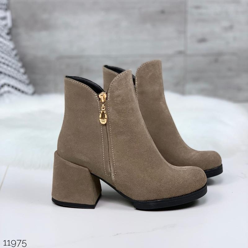 ❤ женские черные весенние деми  замшевые ботинки ботильоны на ...