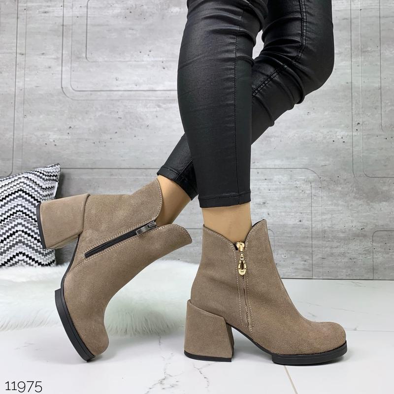 ❤ женские черные весенние деми  замшевые ботинки ботильоны на ... - Фото 2